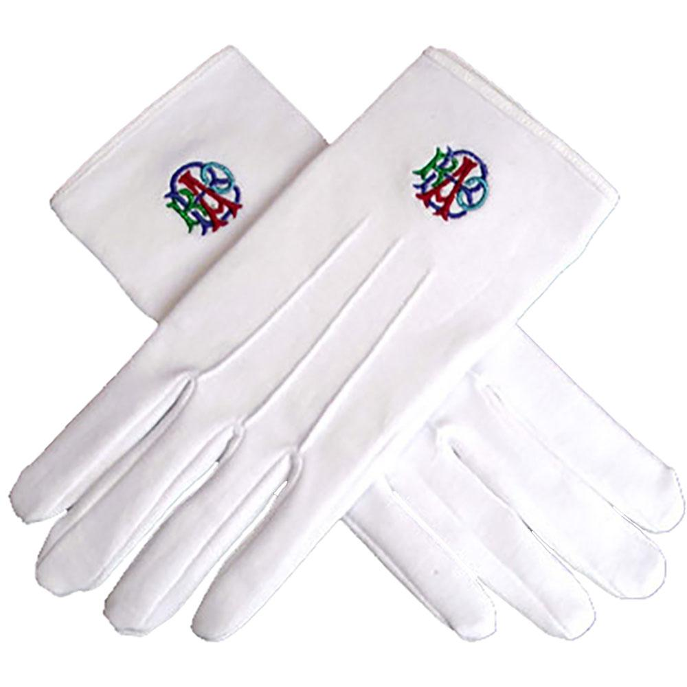 RAOB Machine Embroidery White Cotton Gloves - Bricks Masons