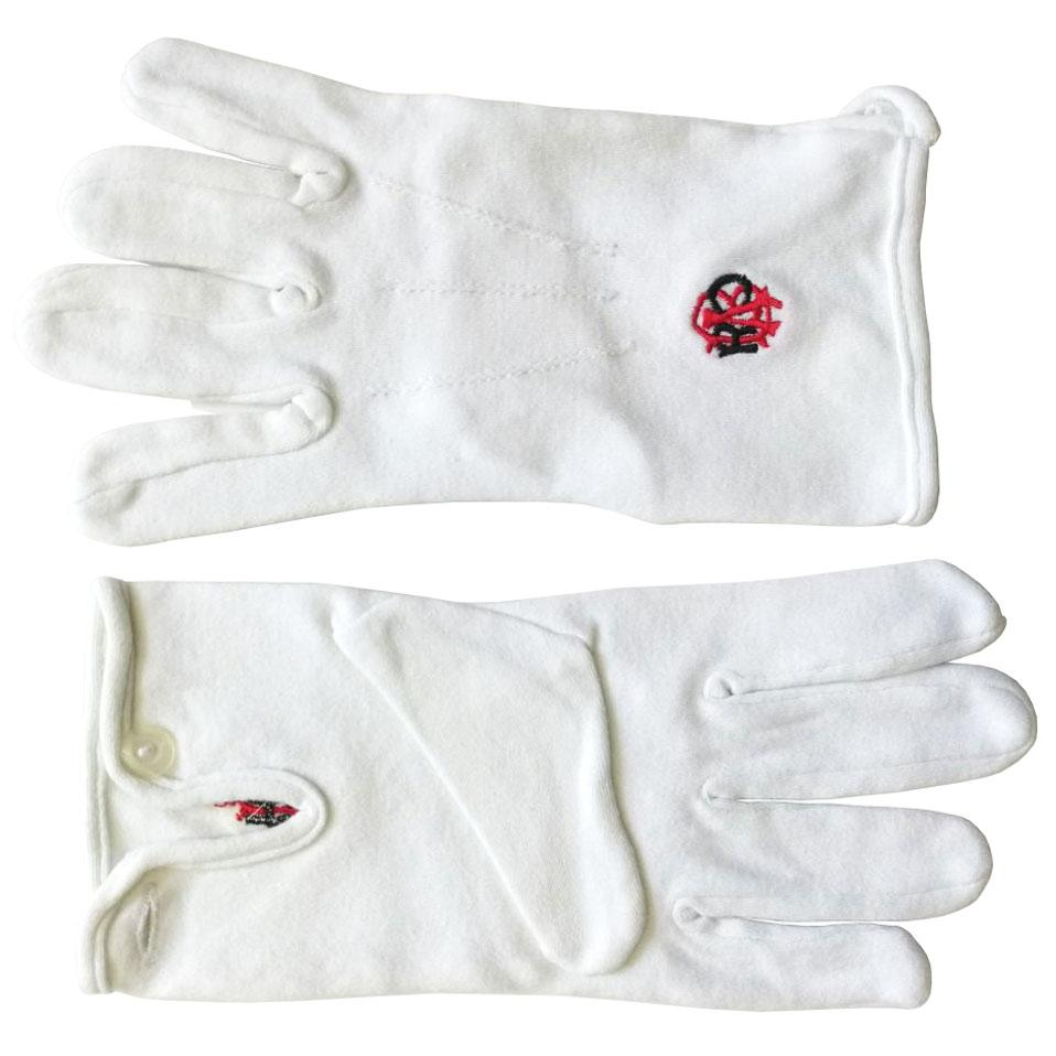RAOB Red Black Machine Embroidery White Cotton Gloves - Bricks Masons