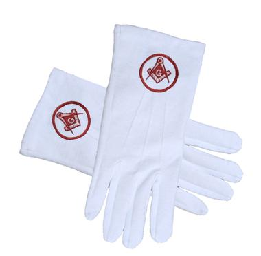 RED SQUARE AND COMPASS IN CIRCLE Masonic Gloves - Bricks Masons