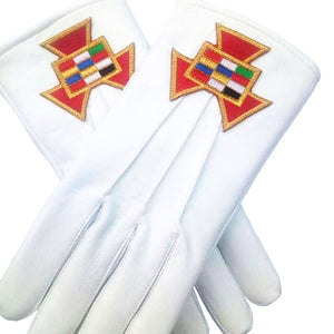 Soft Leather Masonic Gloves Past High Priest PHP Embroidery - Bricks Masons