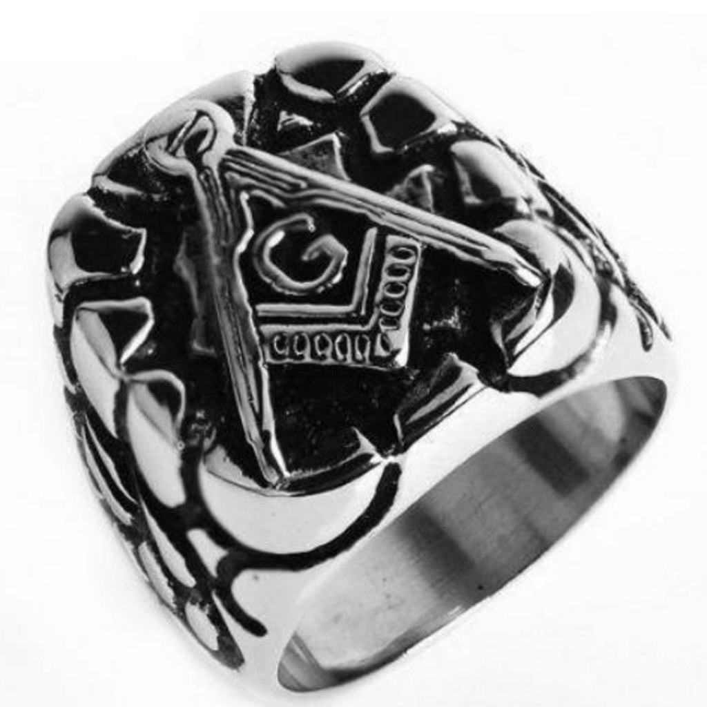 Punk Carved Plated Masonic Ring [Silver] - Bricks Masons