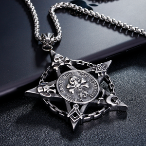 Five-pointed Star Skull & Bones Masonic Necklace - Bricks Masons