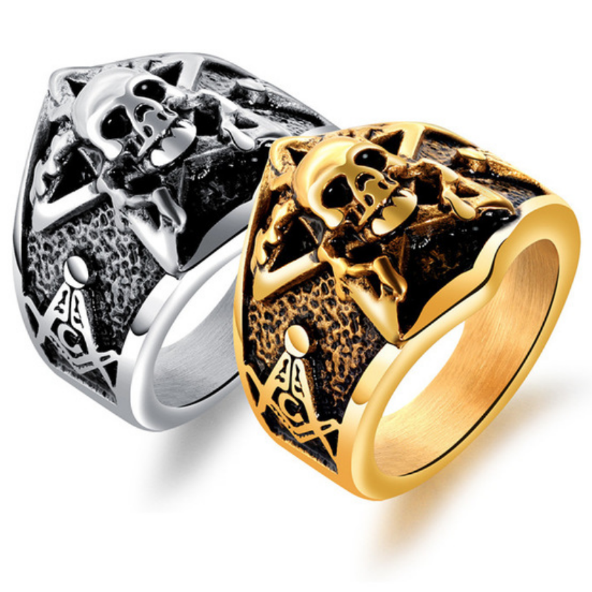 Pentagram Skull Masonic Ring