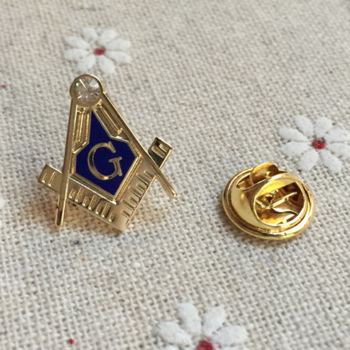 Zirconia Square Compass Masonic Lapel Pin