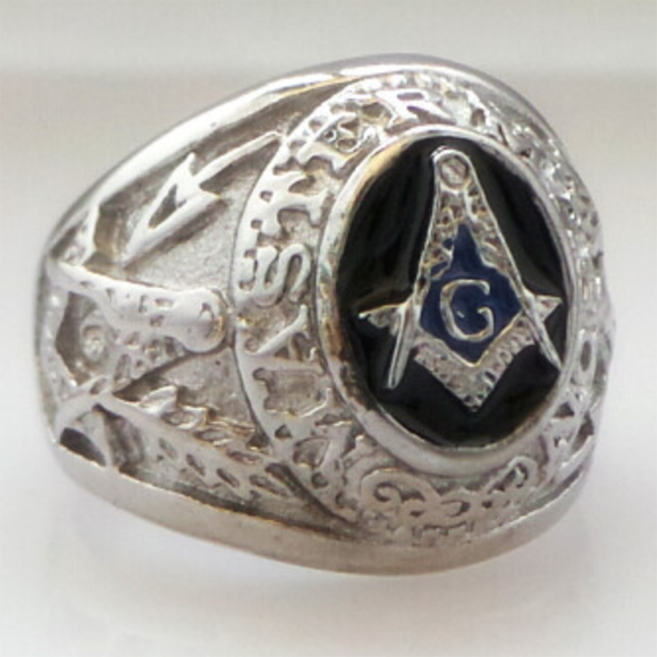 Master Mason Motif Masonic Ring [Silver & Gold] - Bricks Masons