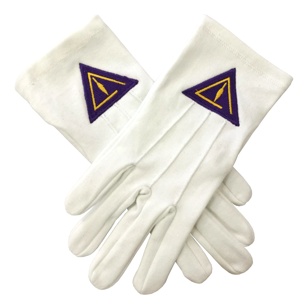 High Quality Royal & Select White Cotton Masonic Glove - Bricks Masons