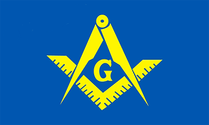Blue & Yellow Square Compass Masonic Flag