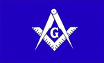 White and Blue Masonic Flag - Bricks Masons