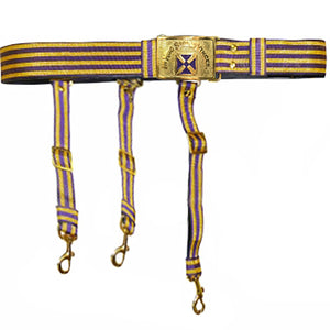 Knights Templar Past Grand Commander Purple & Gold Sword Belt - Purple Cross - Bricks Masons