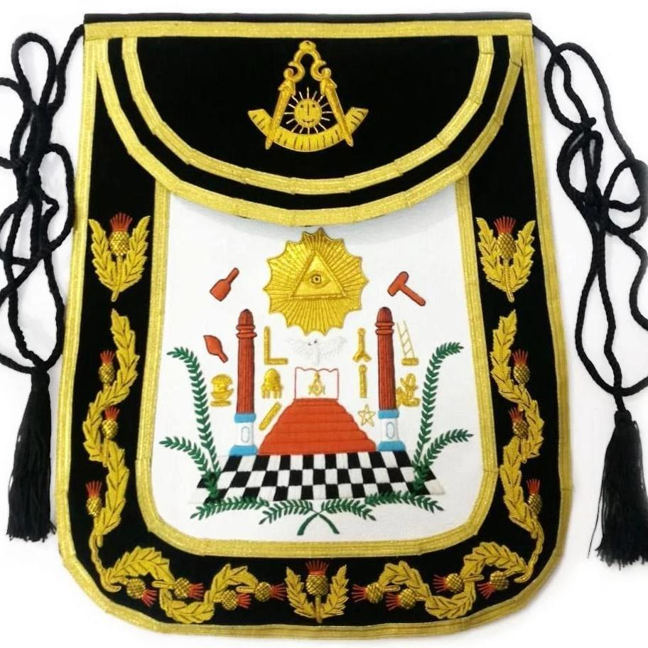 Masonic Traditional Past Master Round Apron Bullion Hand Embroidered - Bricks Masons