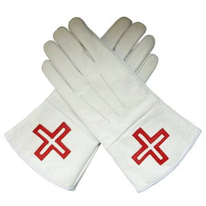 St. Thomas of Acon Gauntlets Red Cross Soft Leather Gloves - Bricks Masons