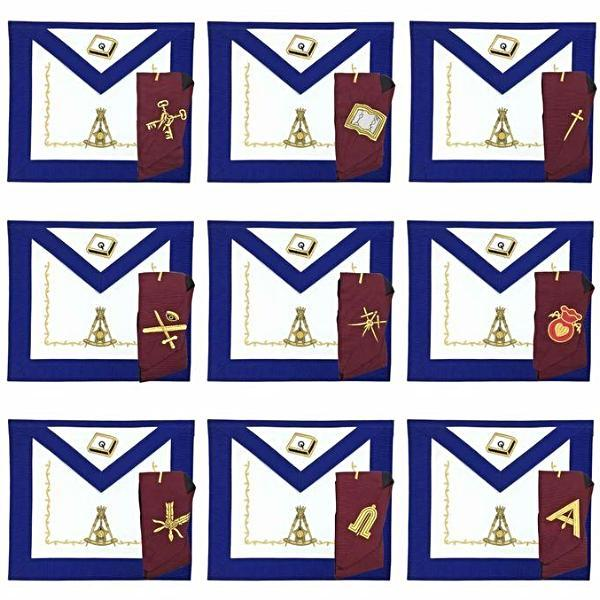 Masonic Regalia 14th Degree Officers Apron and Collar Set - Bricks Masons