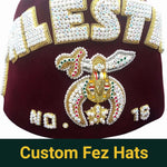 Shriner Fez Hat Bullion Hand Embroidered + Free Case - Bricks Masons