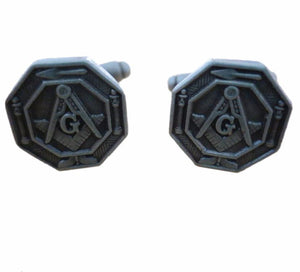 Octagonal Masonic Lodge Cufflinks - Bricks Masons