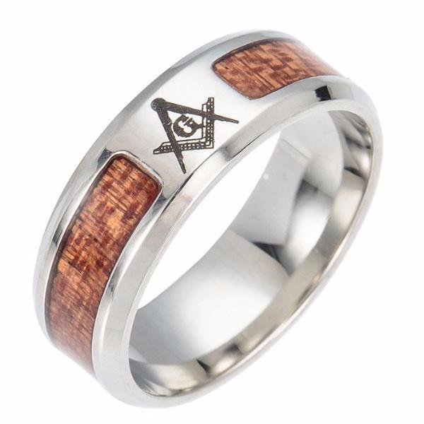 Le Baiser Wood Texture Masonic Ring - Bricks Masons