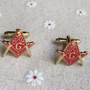 Red Square & Compass Masonic Cufflinks - Bricks Masons