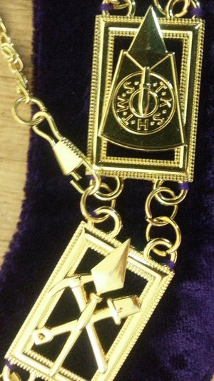 Cryptic Mason - Royal & Select Chain Collar - Gold/Silver On Blue + Free Case - Bricks Masons