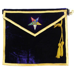 Hand Embroidered Masonic OES Worthy Patron Apron - Bricks Masons