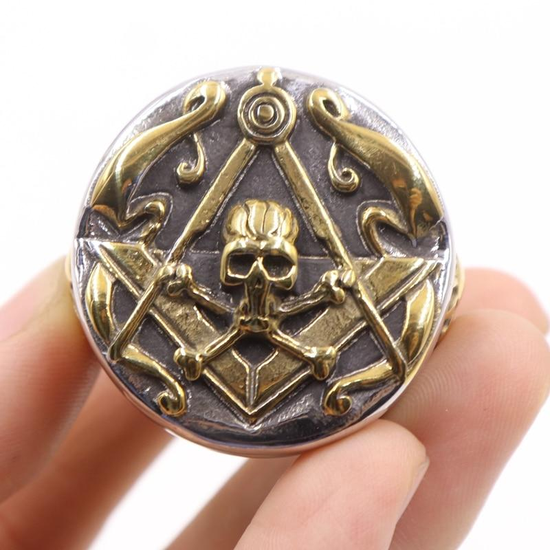 Skull Cross Bones and Compass with Golden Motif Masonic Ring - Bricks Masons