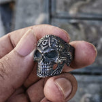 Silver Black Skull Stainless Steel Masonic Ring - Bricks Masons