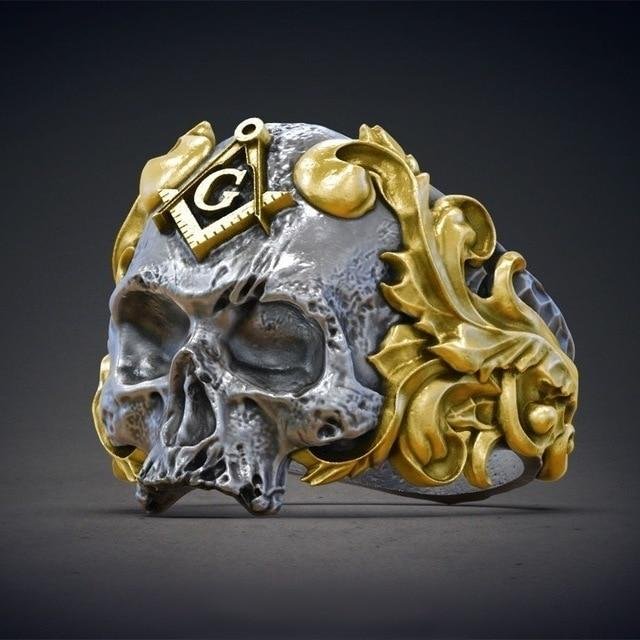 Widow's Son Skull Masonic Symbol Ring - Bricks Masons