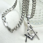 Silver Tone Masonic Stainless Steel Chain Necklace - Bricks Masons