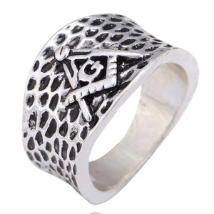 Mesh Square & Compass Fellowcraft Masonic Ring - Bricks Masons