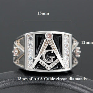 Bold Cubic Zirconia Masonic Ring - Bricks Masons