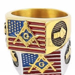American Flag Masonic Biker Rings - Bricks Masons