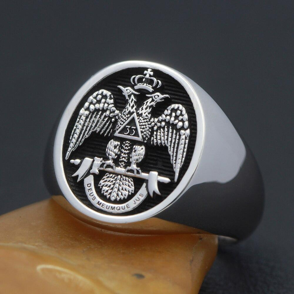 Scottish Rite 33rd Degree Black Oval 925 sterling silver Masonic Ring