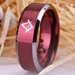 Masonic Ring Red Color Tungsten SQUARE AND COMPASSES FREE Engraving