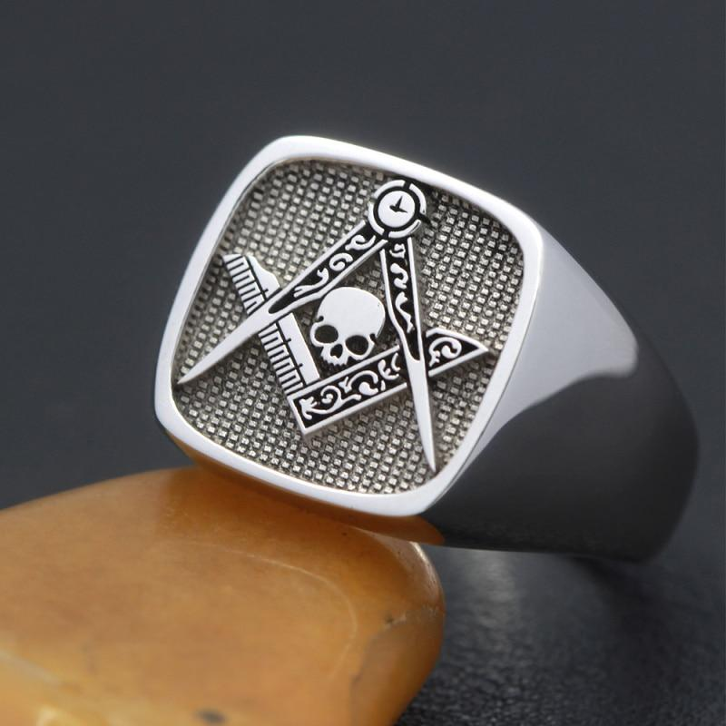 Signet Skull Square and Compass Masonic 925 Sterling Silver Ring
