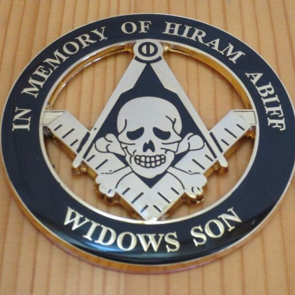 WIDOWS SON IN MEMORY OF HIRAM ABIFF Car Emblem - Bricks Masons