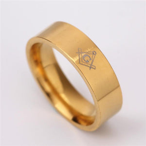 Le Baiser Square & Compass Straight Edge Rings - Bricks Masons