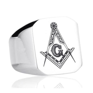 Casted Square & Compass Freemason Ring [Multiple Colors] - Bricks Masons