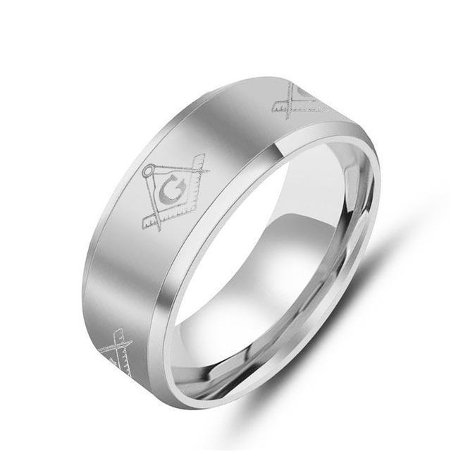 Le Baiser Square & Compass Band Rings - Bricks Masons