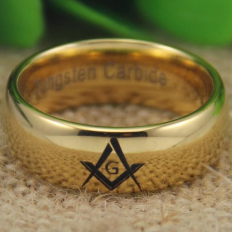 Masonic Master Gold Color Dome Tungsten Ring Free Engraving - Bricks Masons