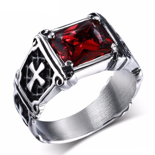 Knights Templar Masonic Ring [Red & Black] - Bricks Masons