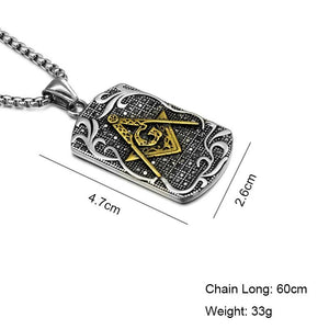 Tag Motif Masonic Necklace [Gold & Silver] - Bricks Masons