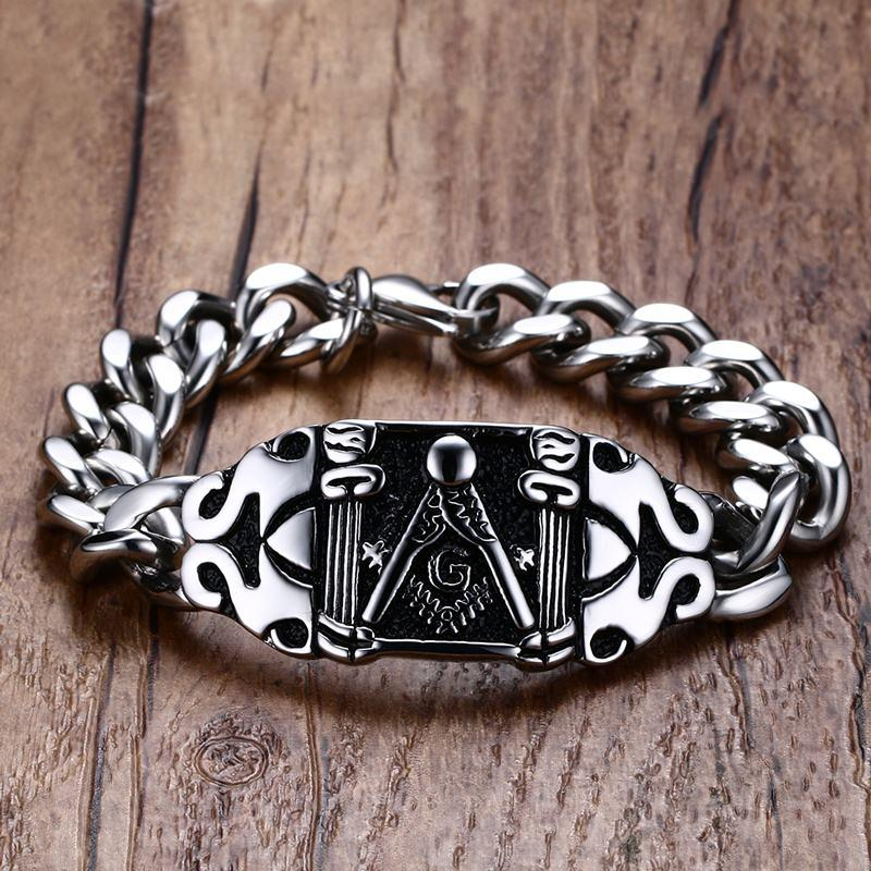 Masonic Biker Square and Compass  Bracelet - Bricks Masons