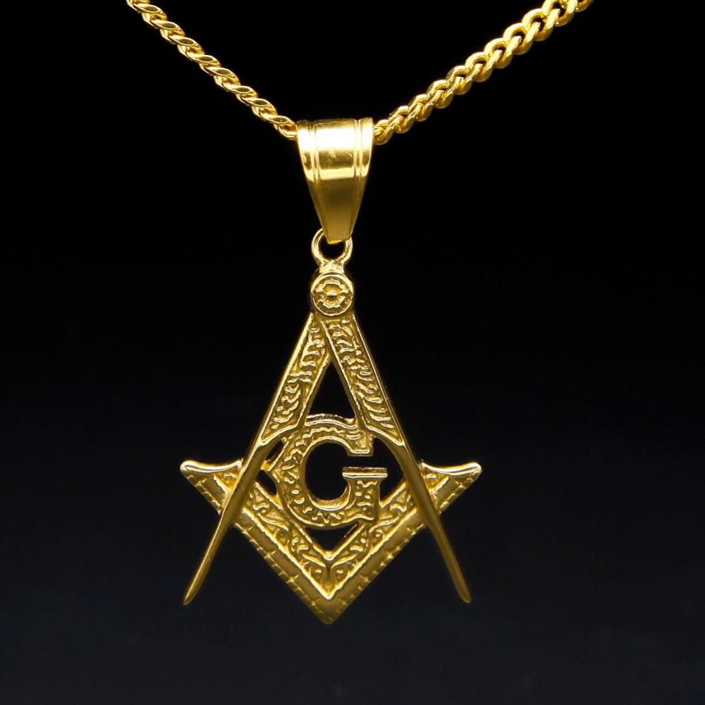 Compass & Square G Necklace [Gold] - Bricks Masons