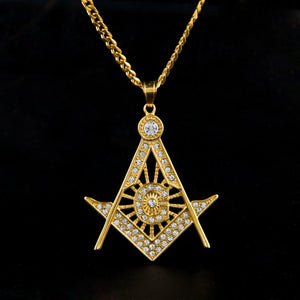Iced Out Rhinestone Square & Compass Necklace [Gold & Silver] - Bricks Masons