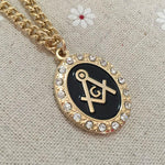 Square and Compass G Zirconia Masonic Necklace Pendant