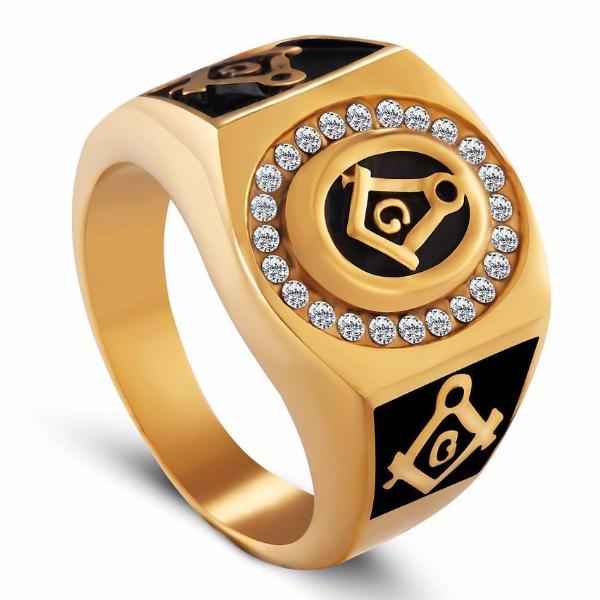 Sertie Cubic Zirconia Apprentice Masonic Ring - Bricks Masons