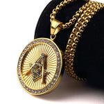 Round Chain Fully Iced-Out Freemason Necklace - Bricks Masons