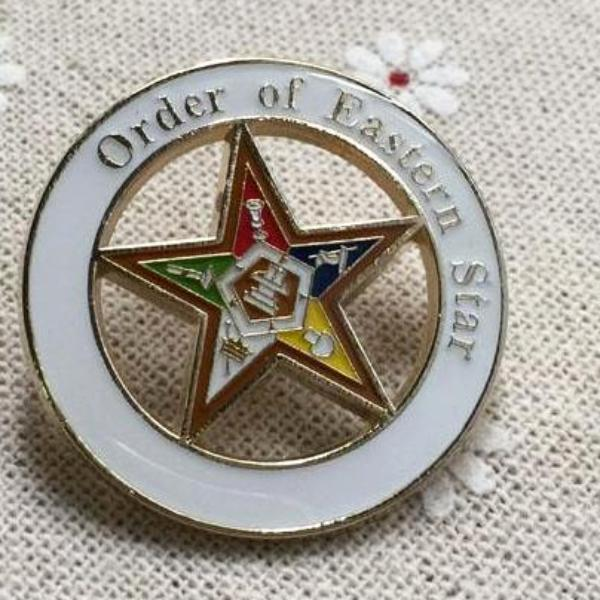 Order of Eastern Star White Masonic Lapel Pin - Bricks Masons