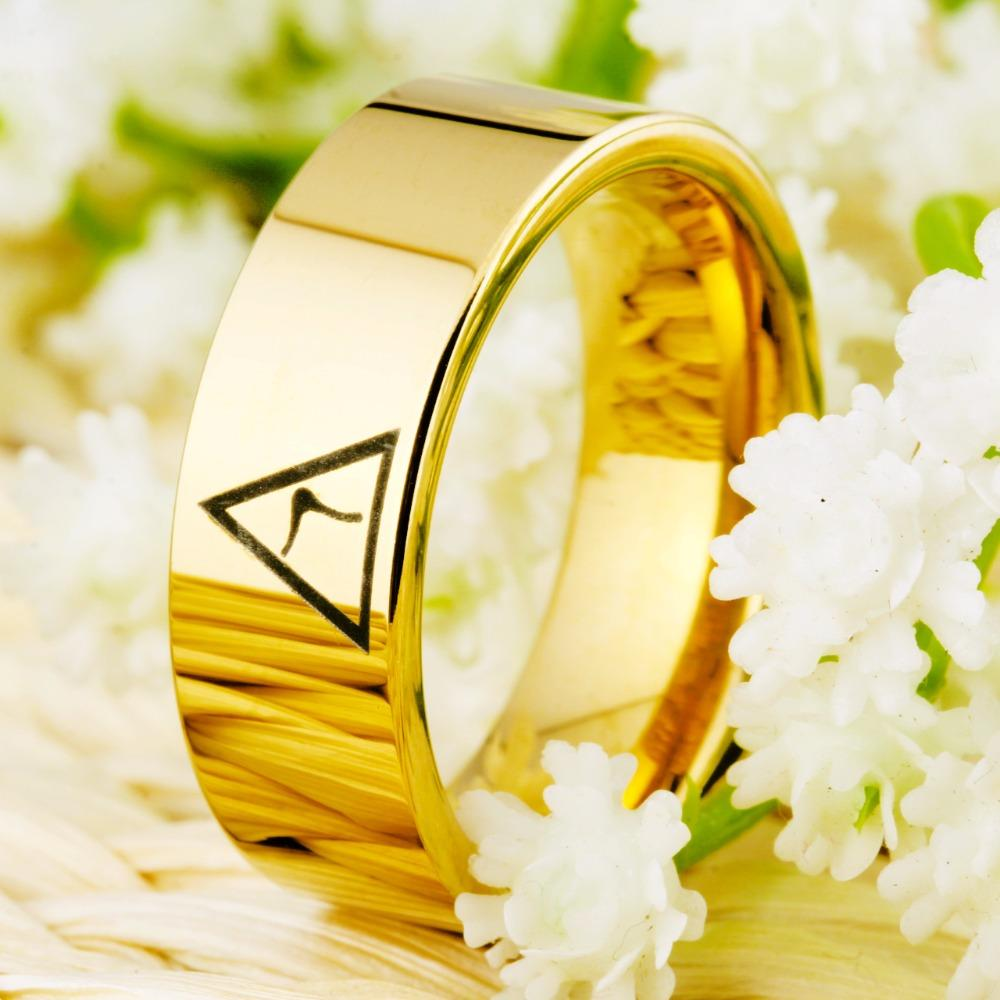 14th Degree MASONIC Gold Color Pipe Cut Tungsten Carbide Ring FREE Engraving - Bricks Masons