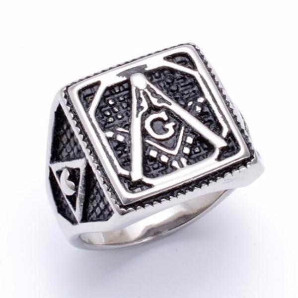 Octagon Inside Square Masonic Ring - Bricks Masons