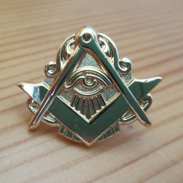 Compass And Square Eye Masonic Lapel Pin - Bricks Masons