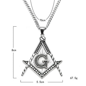 Square & Compass G Motif Necklace [Gold & Silver] - Bricks Masons
